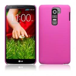 Coque rose rigide touché gomme pour LG G2