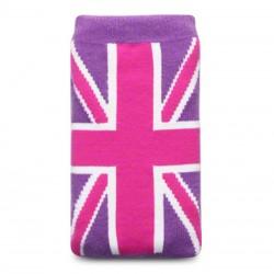 Etui chaussette universel drapeau UK rose et mauve