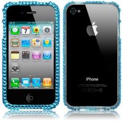 Bumper diamants bleus pour iPhone 4