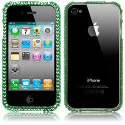 Bumper diamants verts pour iPhone 4