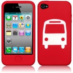 Coque silicone rouge avec motif bus pour iPhone 4