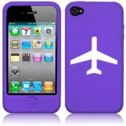 Coque silicone violet avec motif avion iPhone 4