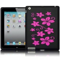 Coque noire avec fleurs fushia pour iPad 2