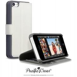 Etui pour iPhone 5 blanc ouverture portefeuille