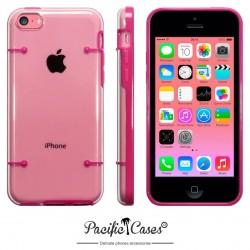 Coque rose et transparente pour iPhone 5C