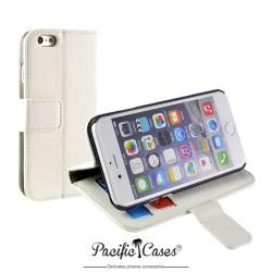 étui pour iPhone 6 folio et fonction stand blanc marque Pacific Cases®