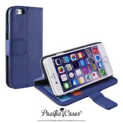 étui pour iPhone 6 folio et fonction stand bleu marque Pacific Cases®