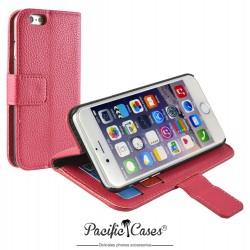 étui pour iPhone 6 folio et fonction stand fushia marque Pacific Cases®