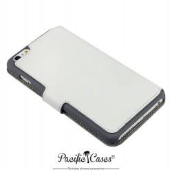 étui pour iPhone 6 Plus blanc folio fonction stand marque Pacific Cases