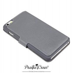 étui pour iPhone 6 Plus gris folio fonction stand marque Pacific Cases