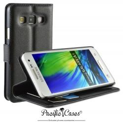 étui pour Samsung A3 ouverture folio et fonction stand par Pacific Cases® - noir