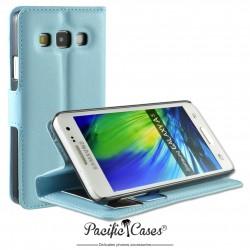 étui pour Samsung A3 ouverture folio et fonction stand par Pacific Cases® - bleu clair