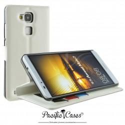 étui pour Huawei Ascend Mate 7 ouverture folio et fonction stand par Pacific Cases® - blanc