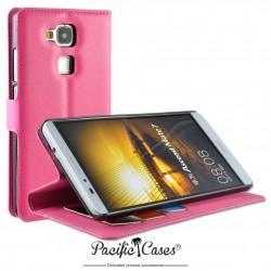 étui pour Huawei Ascend Mate 7 ouverture folio et fonction stand par Pacific Cases® - fuschia