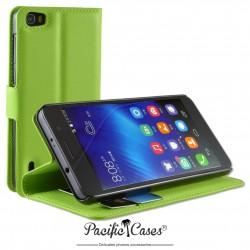 étui pour Huawei Honor 6 ouverture folio et fonction stand par Pacific Cases® - vert