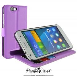 étui pour Huawei Ascend G7 ouverture folio et fonction stand par Pacific Cases® - mauve