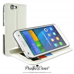 étui pour Huawei Ascend G7 ouverture folio et fonction stand par Pacific Cases® - blanc