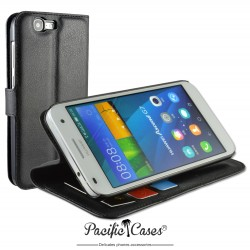 étui pour Huawei Ascend G7 ouverture folio et fonction stand par Pacific Cases® - noir