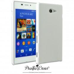 Coque pour Sony Xperia M2 Aqua touché gomme marque Pacific Cases® - blanc