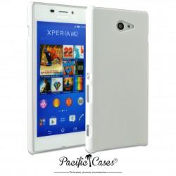 Coque pour Sony Xperia M2 touché gomme marque Pacific Cases® - blanc