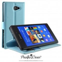 étui pour Sony Xperia M2 Aqua ouverture folio et fonction stand par Pacific Cases® - bleu clair