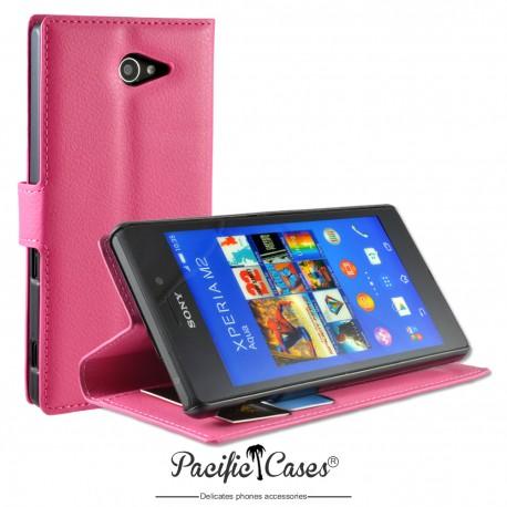 étui pour Sony Xperia M2 Aqua ouverture folio et fonction stand par Pacific Cases® - fuschia