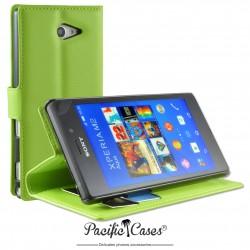 étui pour Sony Xperia M2 Aqua ouverture folio et fonction stand par Pacific Cases® - vert