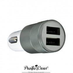 Pacific Cases chargeur allume-cigares double USB en aluminium - gris bleu