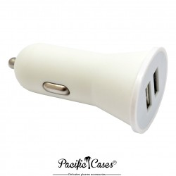 Chargeur allume-cigare double USB marque Pacific Cases - blanc
