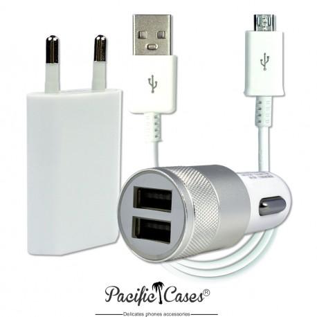 Kit chargeur 220 Volts + allume-cigares + câble  micro USB pour Samsung Galaxy A9 par Pacific Cases® - Blanc